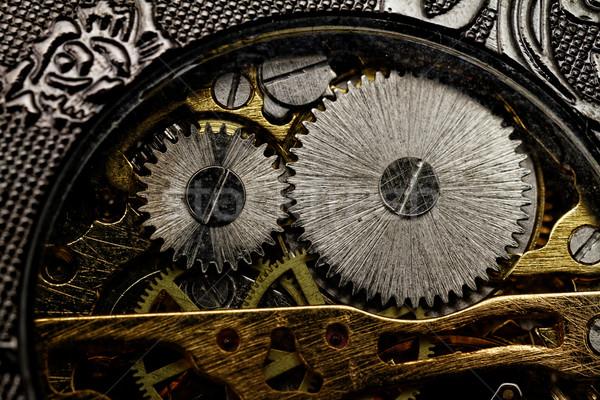 Horloge versnellingen mechanisme voorjaar metaal Stockfoto © Nneirda