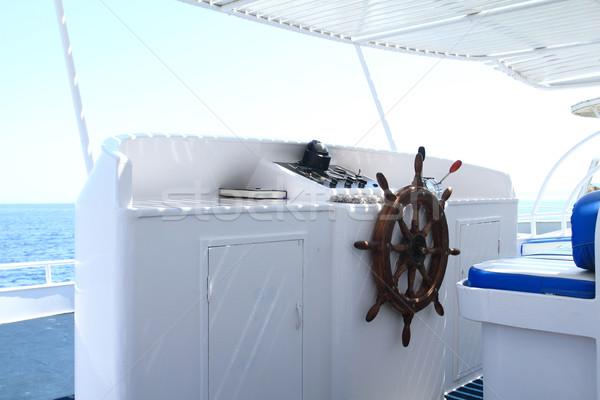 Instrumento painel volante cabine do piloto água Foto stock © Nneirda