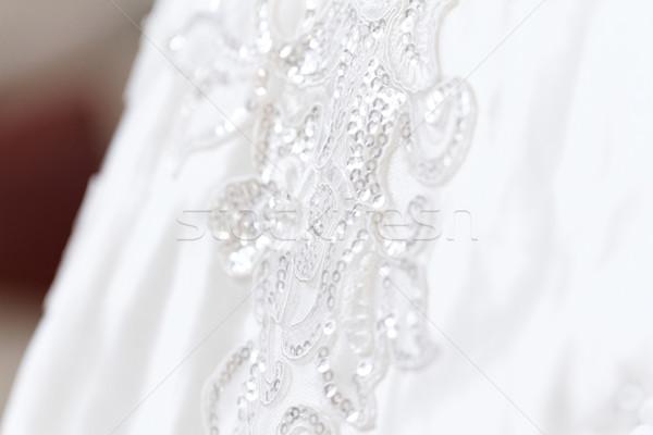 Gyönyörű esküvői ruha részlet közelkép fotó esküvő Stock fotó © Nneirda