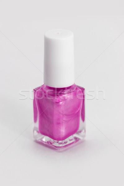 Unha polonês colorido branco rosa estilo mulher Foto stock © Nneirda