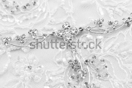 Gyönyörű csipke részlet esküvői ruha makró fotó Stock fotó © Nneirda