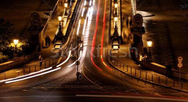 Transporte público noite Budapeste água carro Foto stock © Nneirda