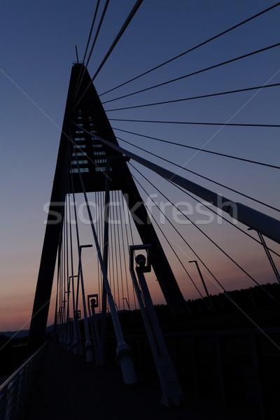 Ponte Hungria rio danúbio céu estrada Foto stock © Nneirda