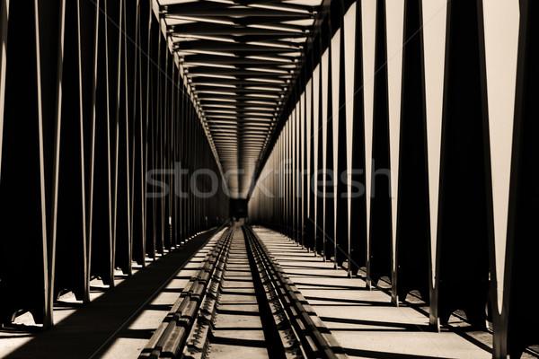 Vasút híd fém nézőpont kilátás absztrakt Stock fotó © Nneirda