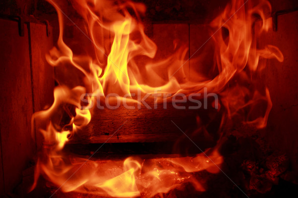 Tűz lángok tükröződés fekete természet fény Stock fotó © Nneirda