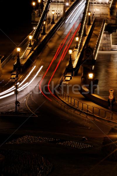 Foto stock: Transporte · público · noite · Budapeste · água · carro