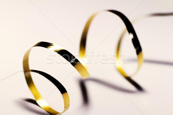 Ajándék csomagolás közelkép fotó arany terv Stock fotó © Nneirda