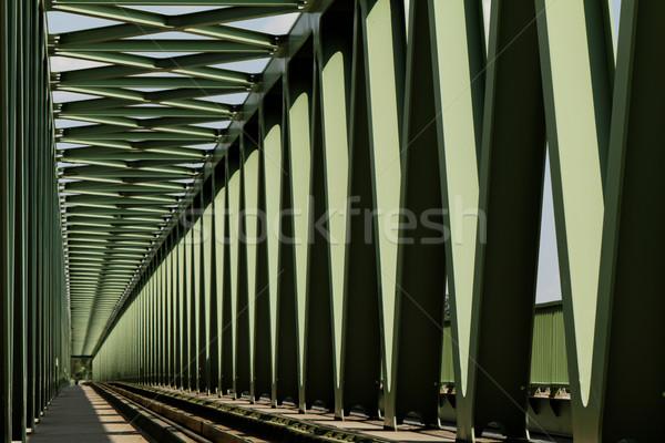 Kolej żelazna most metal perspektywy widoku streszczenie Zdjęcia stock © Nneirda