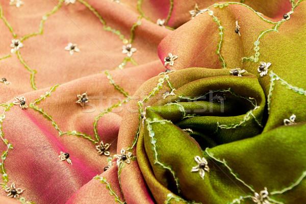 Stockfoto: Roze · groene · satijn · textiel · achtergrond
