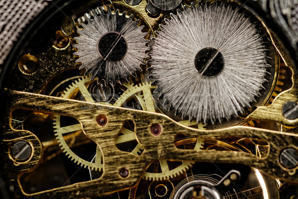Stock photo: Watch gears very close up