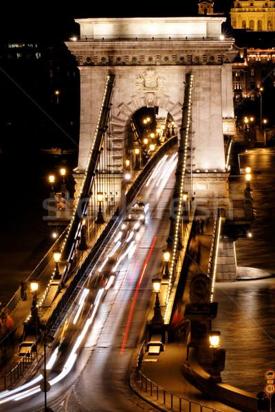 Toplu taşıma asma köprü gece Budapeşte su araba Stok fotoğraf © Nneirda