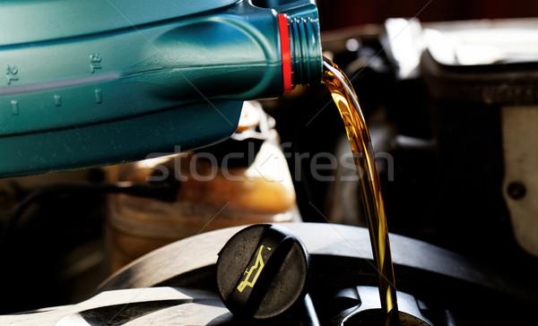 Taze motor yağı yağ değiştirmek sanayi altın Stok fotoğraf © Nneirda