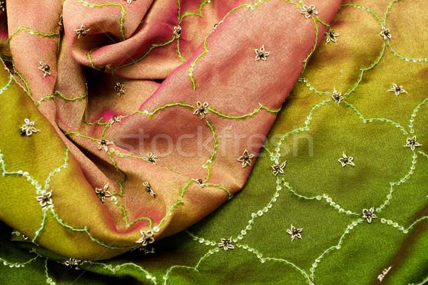 Rózsaszín zöld szatén textil közelkép háttér Stock fotó © Nneirda
