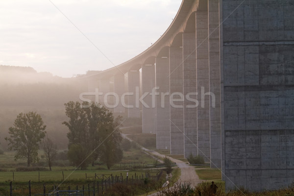 Groot snelweg Hongarije mistig zonsopgang najaar Stockfoto © Nneirda