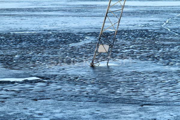 Frozen lake, covered with thin ice Stock photo © Nneirda