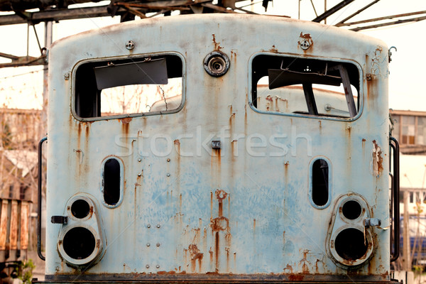 Oude locomotief foto roestige weg metaal Stockfoto © Nneirda