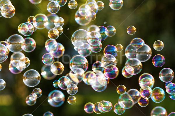 Szappanbuborékok szivárvány buborékok buborék fúvó terv Stock fotó © Nneirda