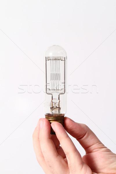 Ampoule main isolé blanche lumière technologie Photo stock © Nneirda