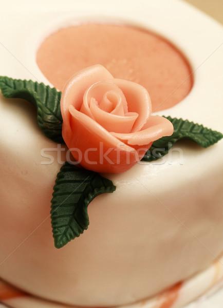 Torta marcipán rózsák közelkép rózsa narancs Stock fotó © Nneirda