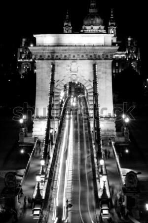 Openbaar vervoer hangbrug nacht stad bouw landschap Stockfoto © Nneirda