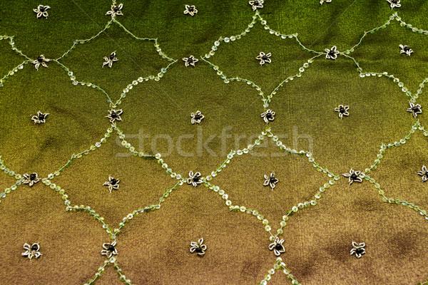 Pembe yeşil saten tekstil arka plan Stok fotoğraf © Nneirda