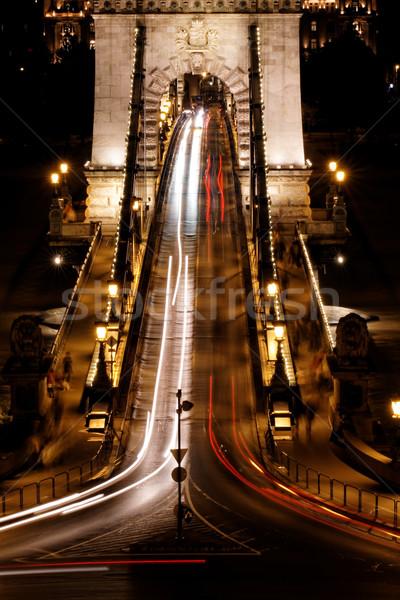 Openbaar vervoer hangbrug nacht Boedapest water auto Stockfoto © Nneirda