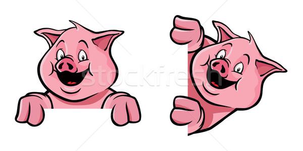 свинья кадр украшение два свиней Сток-фото © Noedelhap