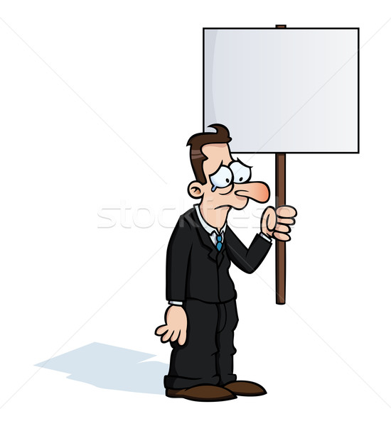 Szomorú üzletember tiltakozás felirat tart üres Stock fotó © Noedelhap