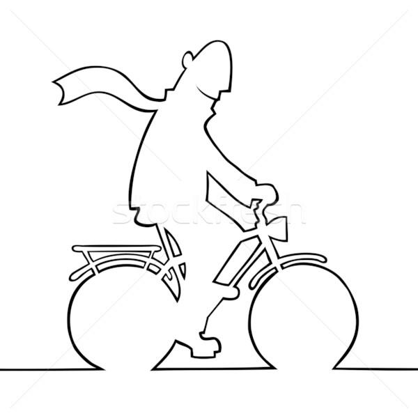 Man fiets zwart wit illustratie oefening zwarte Stockfoto © Noedelhap