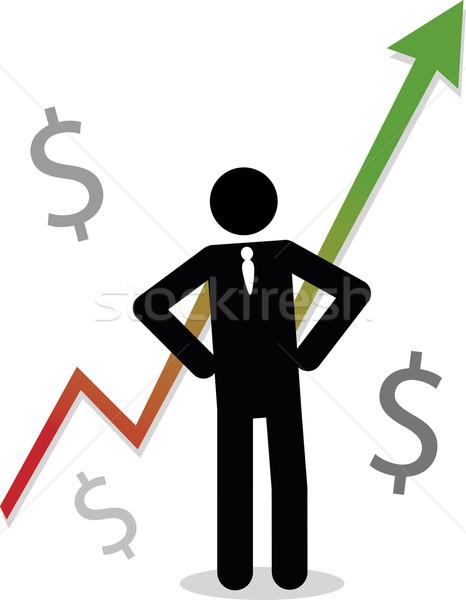üzletember grafikon mutat nyereség pálcikaember üzlet Stock fotó © Noedelhap
