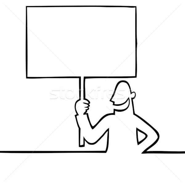 Férfi tart tiltakozás felirat fekete vonal Stock fotó © Noedelhap