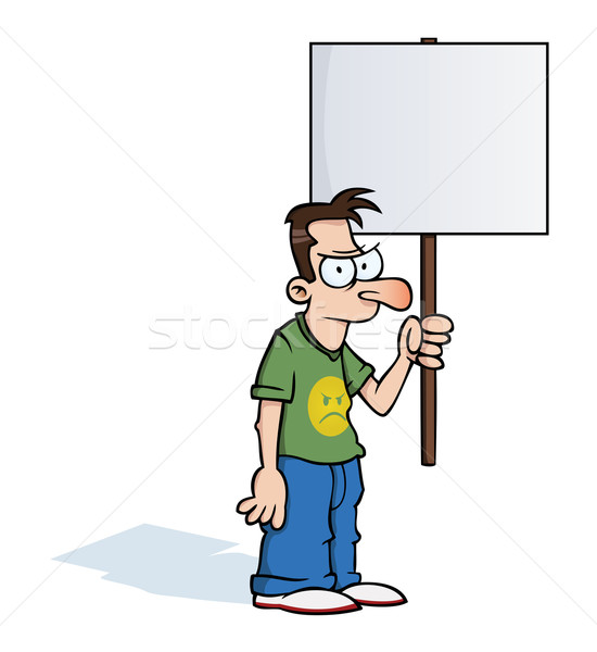 Angry man with protest sign Stock photo © Noedelhap