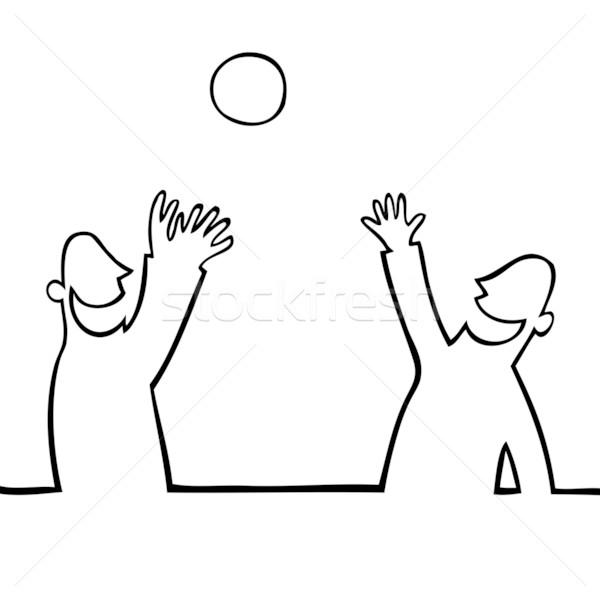 Két személy dob labda egyéb fekete vonal Stock fotó © Noedelhap