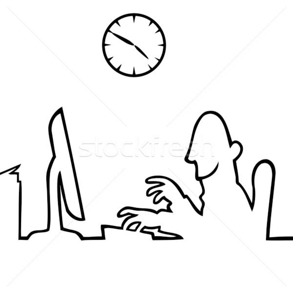 Homem atrás computador trabalhando preto linha Foto stock © Noedelhap