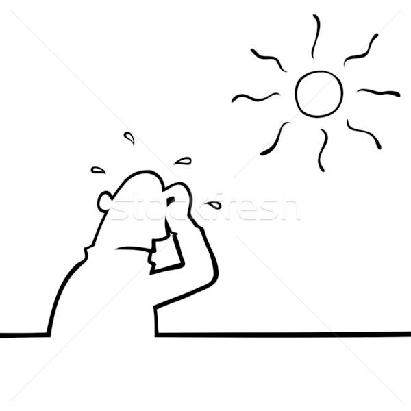 Izzadás férfi forró időjárás nap kéz Stock fotó © Noedelhap