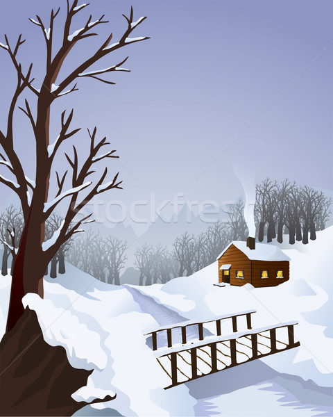 Winter landscape with cottage in the woods Stock photo © Noedelhap