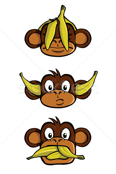 Three wise monkeys Stock photo © Noedelhap