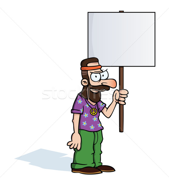 Angry hippie with protest sign Stock photo © Noedelhap