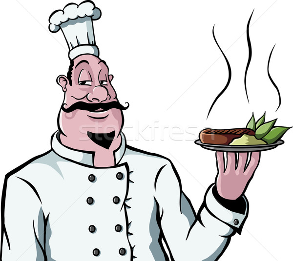 Chef with plate of food Stock photo © Noedelhap