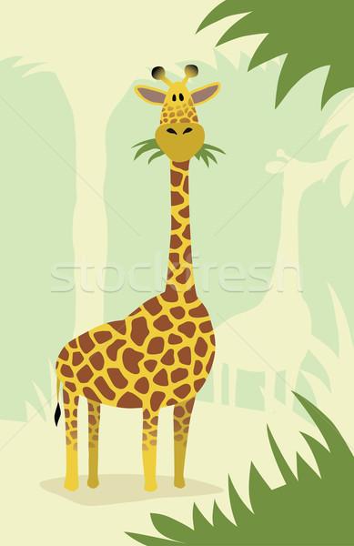 Karikatür zürafa ağaçlar sevimli yeme yaprakları Stok fotoğraf © Noedelhap