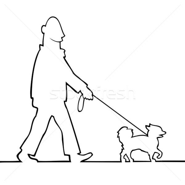 Man walking the dog Stock photo © Noedelhap
