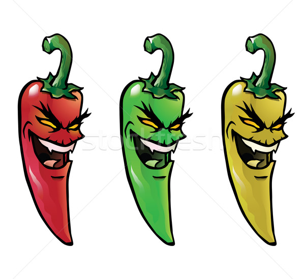 Evil hot chili peppers Stock photo © Noedelhap