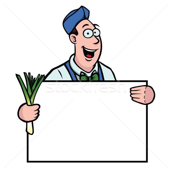 Greengrocer with leek and sign Stock photo © Noedelhap