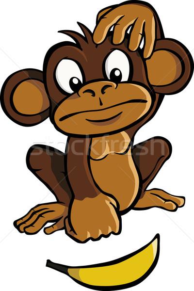 Cartoon aap banaan naar natuur vruchten Stockfoto © Noedelhap