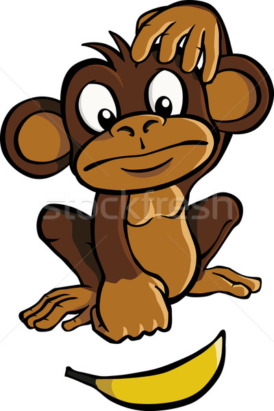 Cartoon scimmia banana guardando natura frutta Foto d'archivio © Noedelhap