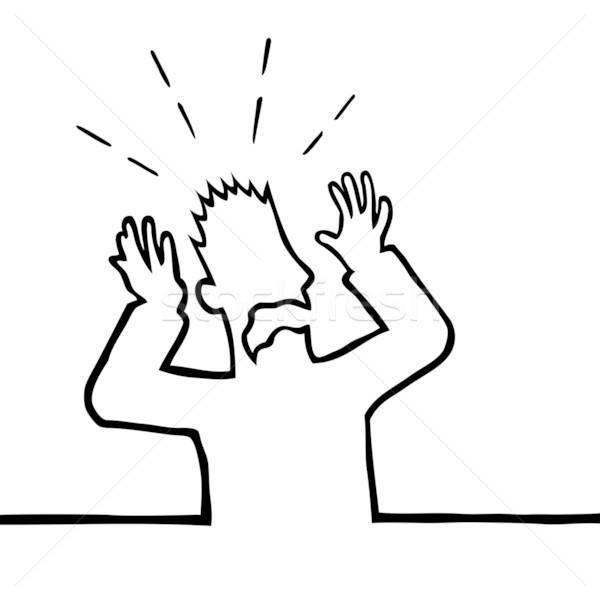 Asustado hombre las manos en alto aire negro persona Foto stock © Noedelhap