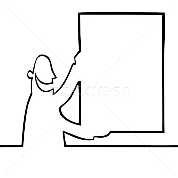 Homem boletim conselho preto linha Foto stock © Noedelhap