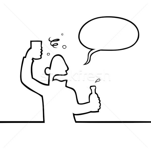 Részeg férfi alkoholos ital fekete vonal művészet Stock fotó © Noedelhap