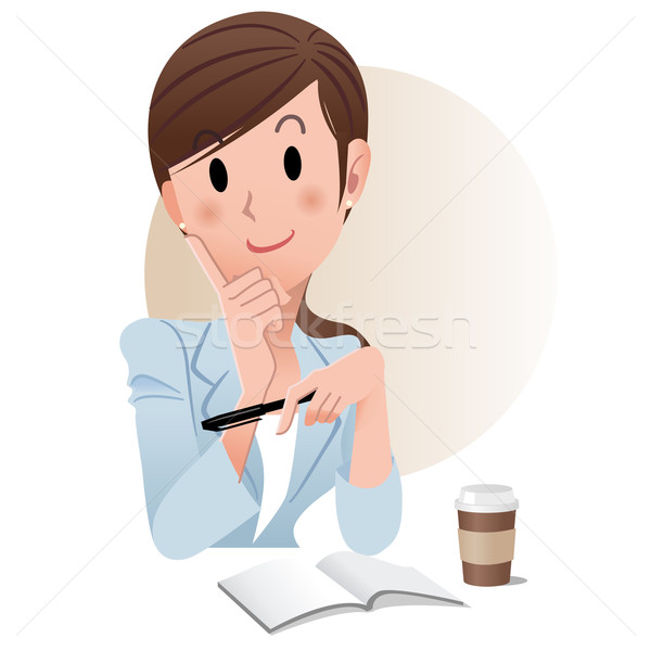 Ponytail young business woman holding a pen while planning somet Stock photo © norwayblue