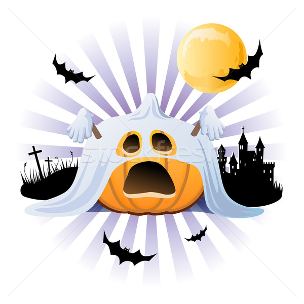 Halloween pumpkin Jack o lantern in ghost costume, EPS10 Stock photo © norwayblue